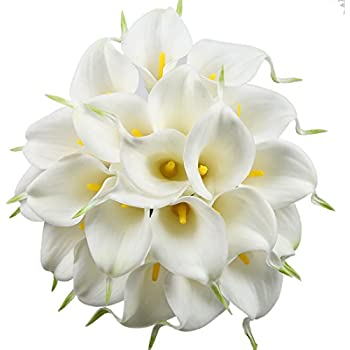 Luyue Calla Lily Bridal Wedding Bouquet Head Lataex Real Touch Flower Bouquets Pack of 20 (White)