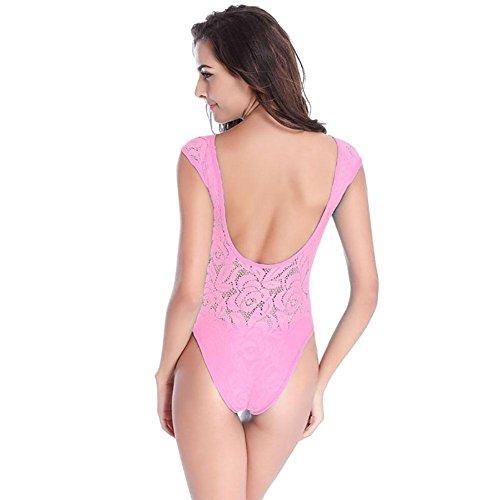 SHISHANG Sra. Del bikini traje de baño caliente de alto grado del cordón lleno con shorts Europa y los Estados Unidos suave de alta elasticidad Pink