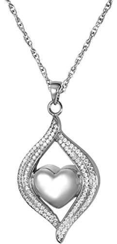 (Cremation Memorial Jewelry: Sterling Silver Teardrop Ribbon Heart)