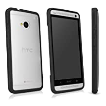 HTC One (M7 2013) Case, BoxWave® [UniColor Case] Hard Shell Case with Colorful Bumper Edges for HTC One (M7 2013) - Frosted Black