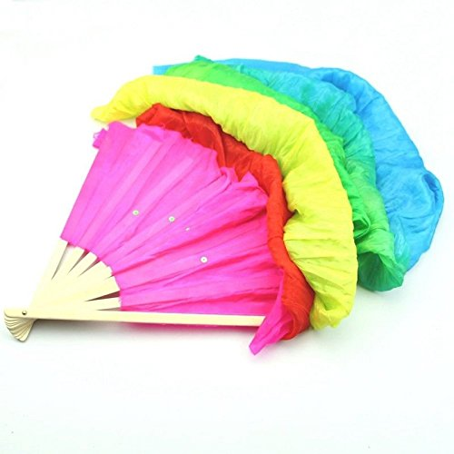 Agordo Hand Made Colorful Belly Dance Dancing Silk Bamboo Long Fans Veils for Folk N9S7