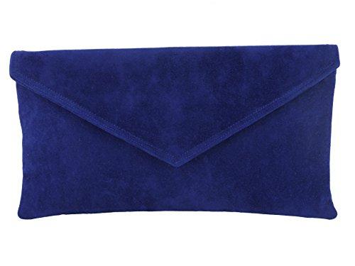 Daim Bleu À Loni Marine Main Faux Enveloppe Pochette Sac PY50w5qp