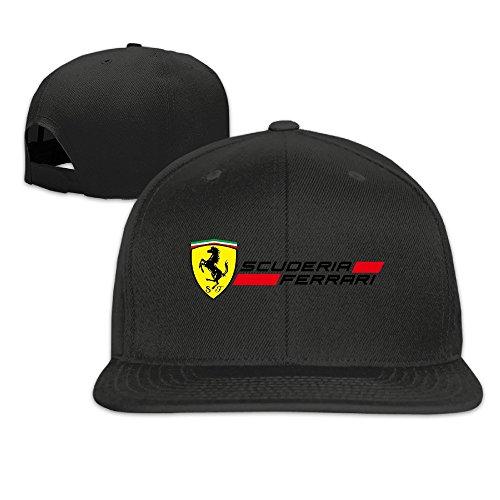 hmkolo-scuderir-ferrari-cotton-flat-bill-baseball-cap-snapback-hat-unisex-black