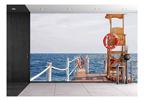 wall26 - Life Guard Tower at The Eand of Pier - Removable Wall Mural | Self-Adhesive Large Wallpaper - 100x144 inches ()