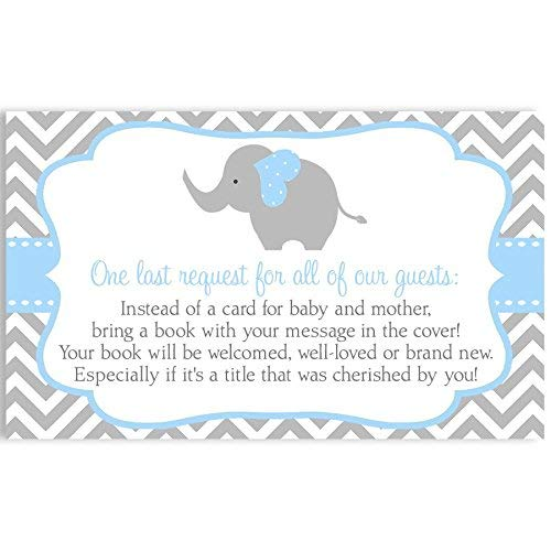 Chevron Elephant, Bring A Book Cards, Baby Shower, Blue, Chevron, Stripes, Bring A Book, Baby's First Book, Elephant, Blue, Boy, Baby Book, It's A Boy, 25 Pack Printed Book Inserts