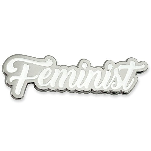 PinMart's Feminist Pride Silver and White Enamel Lapel Pin by PinMart