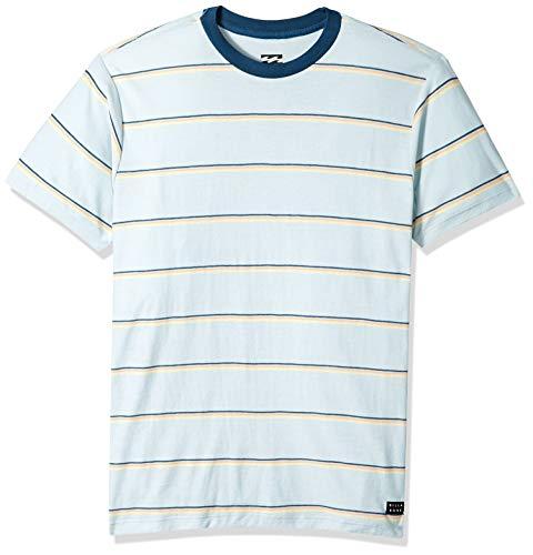 (Billabong Men's Die Cut Stripe Short Sleeve Crew Dusty Blue Large)