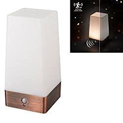 Brighome Wireless Motion Sensor LED Night Light 3 Modes Battery Powered LED Table Lamp,Sensitive Lights Stairway Bedroom/Bathroom Hallway Emergency Camping Lamp For Kids Nursery Child House (Square)