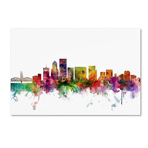 Portland Oregon Skyline by Michael Tompsett, Canvas Wall Art