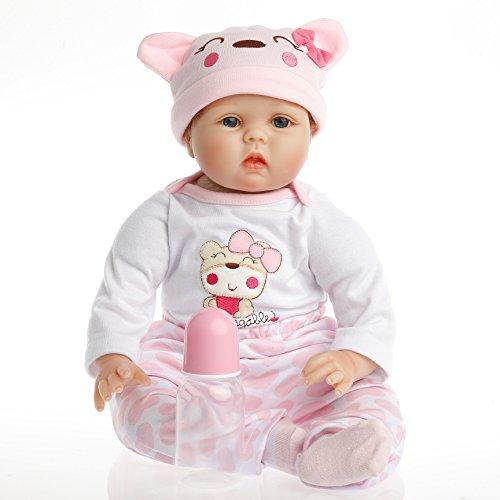 SanyDoll Reborn Doll Baby Newborn Doll 22inch 55cm Magnetic Lifelike Cute Lovely Baby Pink Birthday Gift