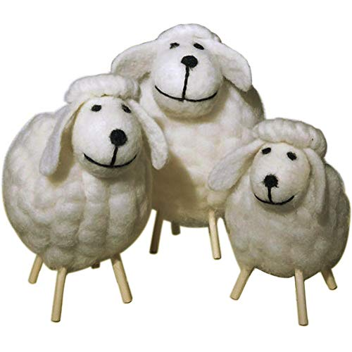 TINTON LIFE Handicrafts Sheep with Baby Lamb Wool Felt Sheep Family Toys Decorative Ornaments Plush Doll Desktop Ground (White Set)