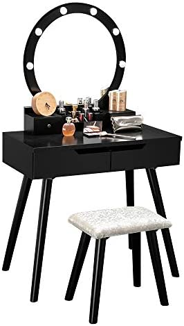 Bonnlo Vanity Table Set with Lighted Mirror Round Makeup Vanity Table with 8 Light Bulbs and Touch Switch,Bedroom Dressing Table with Cushioned Stool Black