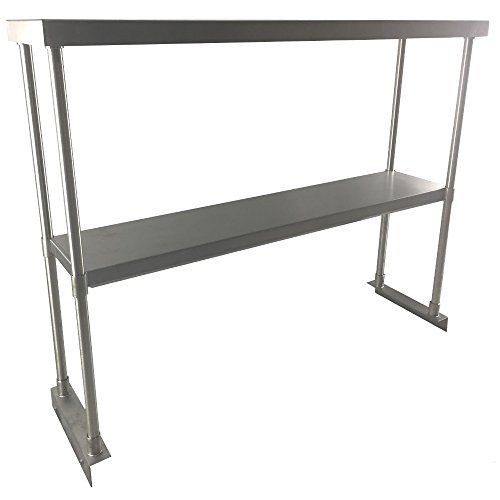 Fenix Sol Commercial Kitchen Stainless Steel Double Overshelf for Work Tables, 12'' W x 60''L x 31''H, NSF Certified by Fausett International