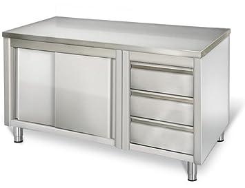 Outdoor Küche Edelstahl Schubladen : Goo gastro go7144g gewerbe arbeitsschrank 1 8m mit 3 schubladen