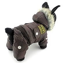 SELMAI Small Dog Apparel for Girls Boys Airman Fleece Winter Coat Snowsuit Hooded Jumpsuit Waterproof Brown XS