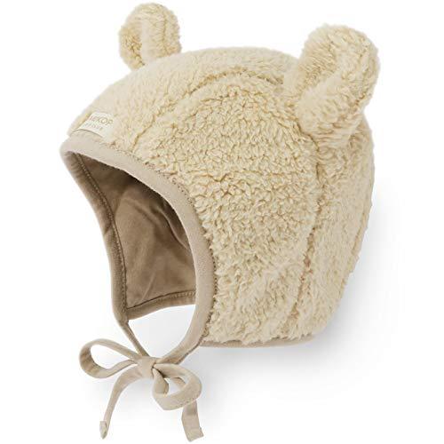 Happy Tree Baby Hat Warm Cotton Lined Toddler Winter Bonnet Kids Infant Cute Bear Beanie Cap Earflap, Brown (8m - 12m) ()