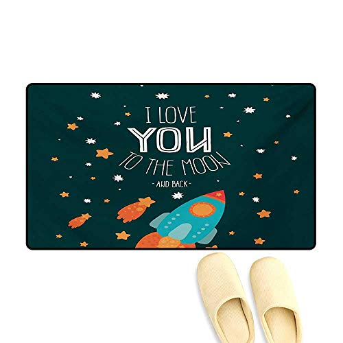 (Bath Mat,Rocket on The Road of Space Adventure Cosmic Valentines Couples Universe Theme,Door Mat)