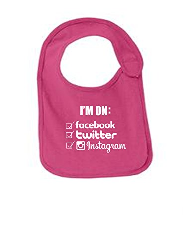 Im On Facebook Twitter IG Funny Infant Jersey Bib Sangria One - Girls Repost