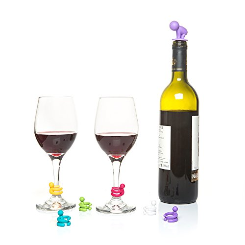 Mollitiem Wine Stopper Gift Set with Multi-Coloured Silicone Charms, 6 Piece