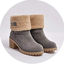 Fragrancety Winter Boots Women Female Fur Warm Snow Boots Winter Fashion High Heels Shoes Woman Ankle Boots,Gray,8