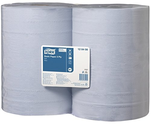 Tork Basic Wiping Paper, Blue, 340 mx369 cm, 2 x Roll of 1000 Sheets by Tork