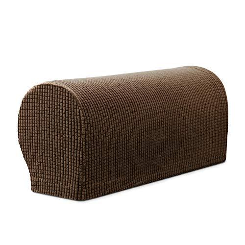 Subrtex Spandex Stretch Armrest Covers Set of 2 (Coffee) by Subrtex