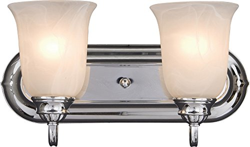Maxim 7136MRPC Essentials 2-Light Bath Vanity Wall Sconce, Polished Chrome Finish, Marble Glass, MB Incandescent Bulb , 40W Max., Dry Safety Rating, 2900K Color Temp, Standard Dimmable, Glass Shade Material, 2500 Rated Lumens ()