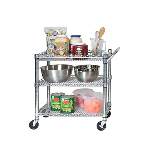 "Seville Classics 3-Tier Heavy-Duty NSF-Certified Commercial Shelving with Wheels, 34"" W x 18"" D, Chrome"