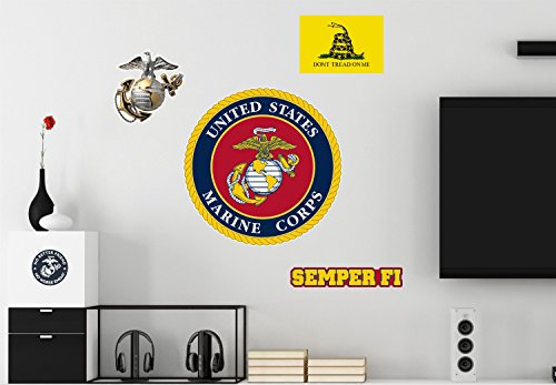 United States Marine Corps USMC Logo Semper Fi Flag Repositionable Military 5 Wall Vinyl Decals Posters Decor