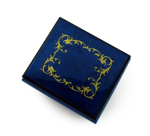 Classic Royal Blue Arabesque Wood Inlay Music Box - Over 400 Song Choices - Reich Mir Die Hand Mein Laben SWISS (Box Mira Wood)