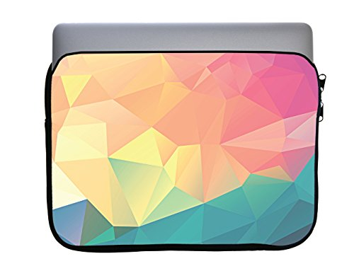 Pastel Rainbow Polygon Design 13x10 inch Neoprene Zippered Laptop Sleeve Bag by egeek AMZ for MacBook or Any Other Laptop by egeek amz