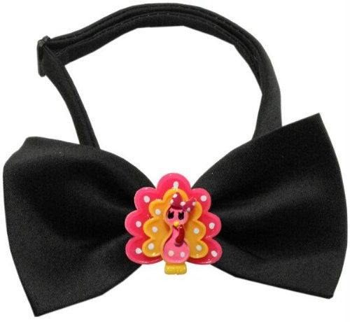 Image of Mirage Pet Products 47-12 BK Pink Turkey Chipper Black Bow Tie, Small