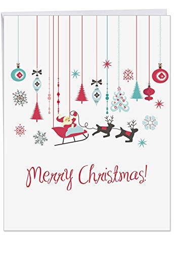 ( 8.5 x 11 Inch 'Red and Blue Retro Christmas' Christmas Card w/ Envelope - Adorable Merry Christmas Card with Santa Claus, Reindeer, Ornaments and Snowflakes - Holiday and Xmas)
