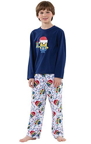 PajamaGram Officially Licensed Minion Holiday Pajama Set, Blue,