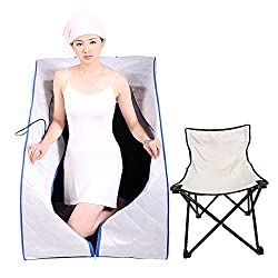 Smartmak Far Infrared Low EMF Sauna, Portable Personal Full Body Detox Weight Loss SPA Tent with Heating Foot Pad and Portable ?PGRADE Chair