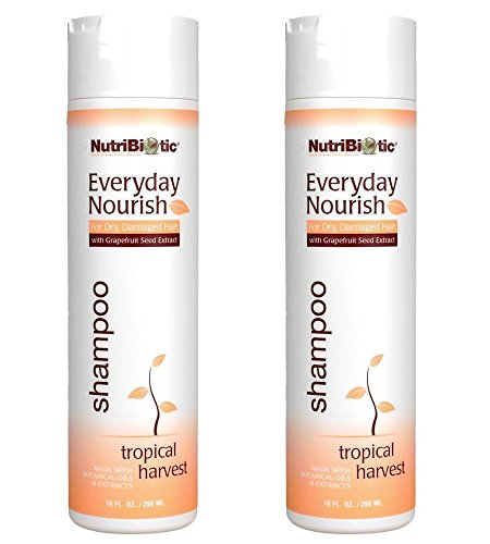 NutriBiotic Everyday Nourish Tropical Harvest Shampoo (Pack of 2) with Grapefruit Seed Extract, Tea Tree Oil, Soy Protein and Sunflower Oil, 10 fl. (Soy Protein Shampoo)