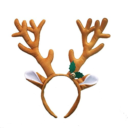 AMA(TM) Christmas Santa Claus Plush Hat Antlers Xmas Festival Fancy Dress Costume Accessory (B) (Tree Picks Christmas Antler)