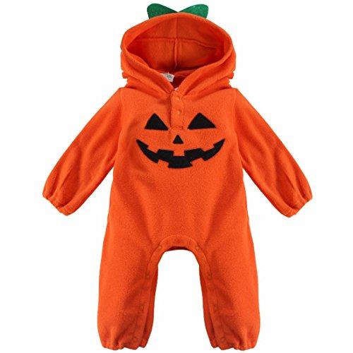 Wearing Costume (FEESHOW Unisex Baby Boy Girl Halloween Costume Pumpkin Hooded Romper Fancy Outfits Orange Pumpkin 9-12 Months)