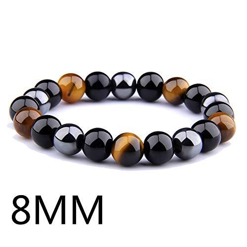 NDJqer Natural Black Obsidian Hematite Tiger Eye Beads Bracelets Men for Magnetic Women ()