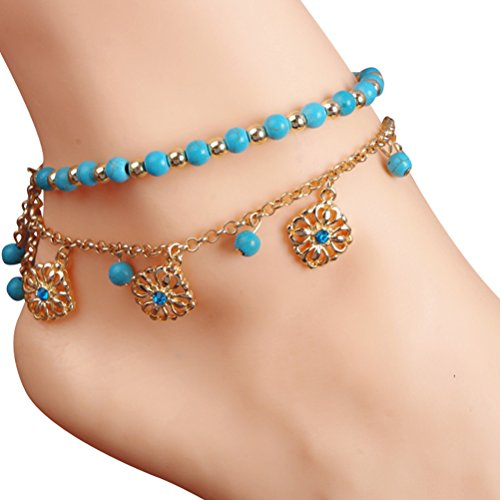 [Women's 2 Piece Flower Tassel Chain Turquoise Beads Anklet Barefoot Sandals] (Halloween Costume Ideas 2016 Men)