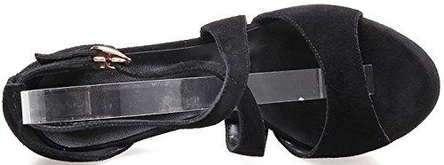 Calaier Women Salad Open-Toe 10CM Stiletto Buckle Sandals Shoes Black 03s4O3MEJ