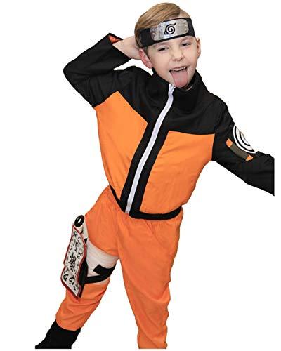DAZCOS Kids Size Boys Anime Uzumaki Childhood Cosplay Costume (Child M) Orange]()