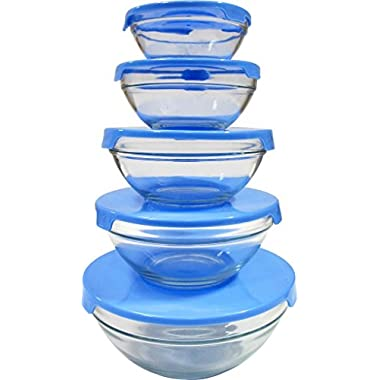Imperial 5 Pcs Glass Nested Dipping or Storage Bowls with Blue Lids