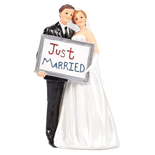 Juvale Wedding Cake Toppers - Bride Groom Cake Topper Figurines Holding Just Married Board - Fun Cake Topper for Wedding, Decorations, and Gifts - 3.3 x 5.8 x 2.25 Inches (Traditional Wedding Cake Toppers Bride And Groom)