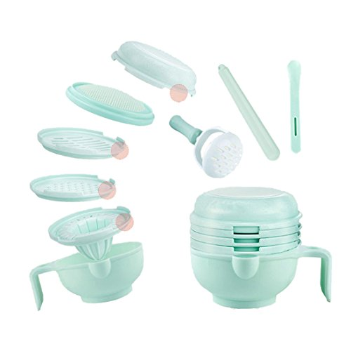 TOOGOO 9 Sets of Baby Food Supplement Grinder Manual Food Grinding Bowl Baby Puree Cooking Machine Complementary Tool kit Multi-Function ()