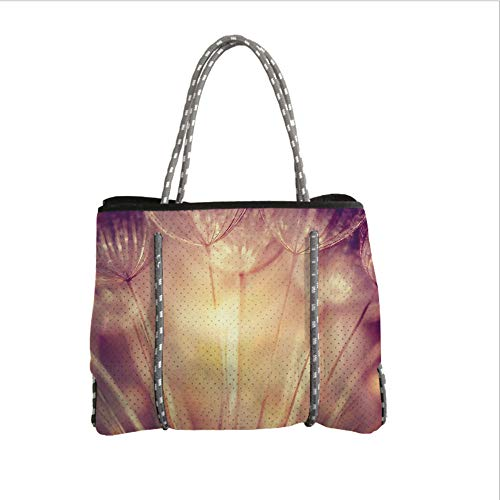 (Neoprene Multipurpose Beach Bag Tote Bags,Ivory,Close Up Dandelion Plant Petals Spring Inspiration Nature Mother Earth Theme Picture,Peach Coral,Women Casual Handbag Tote)