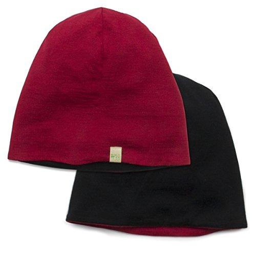 Reversible Wool Beanie - Minus33 Merino Wool Clothing Unisex Reversible Shade Wool Beanie, True Red, One Size