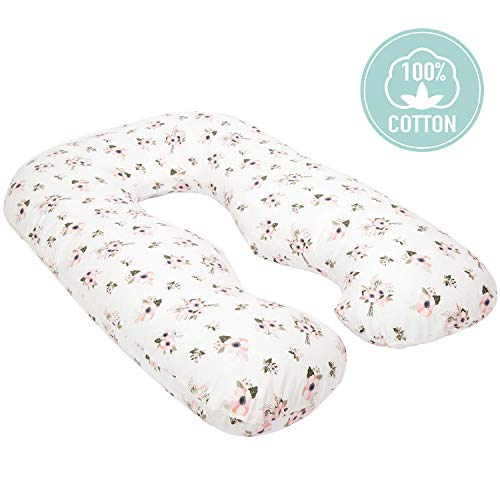 TILLYOU Large Zipper Personalized Pregnancy Pillowcase, 100% Egyptian Cotton Fully Body Maternity Pillow Replacement Cover, Soft Breathable Hypoallergenic, Fit 55 x 31 U Shaped Pillow, Floral