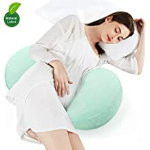 Pregnancy Pillow Wedge, Yunbaby Nature Latex Wedge Pillow Pregnancy Washable Nursing Breastfeeding Pillow Support Body, Belly, Back, Knees (Mint Green)