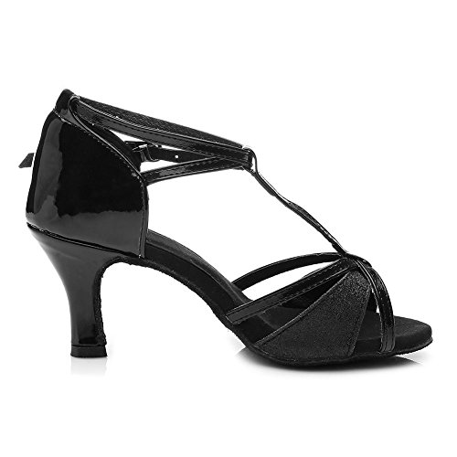 Model Dance Latin Ballroom Women Black Satin UK 255 Shoes 7cm SWDZM BY6wU